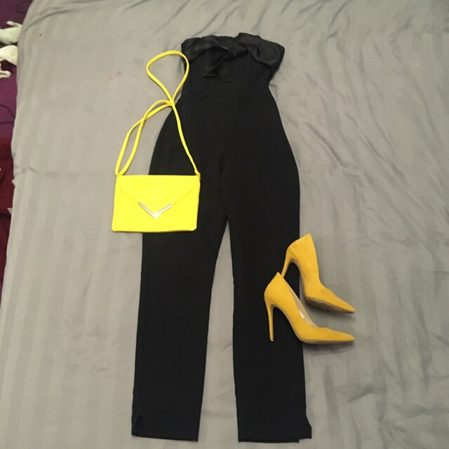 Size XS black strapless jumpsuit