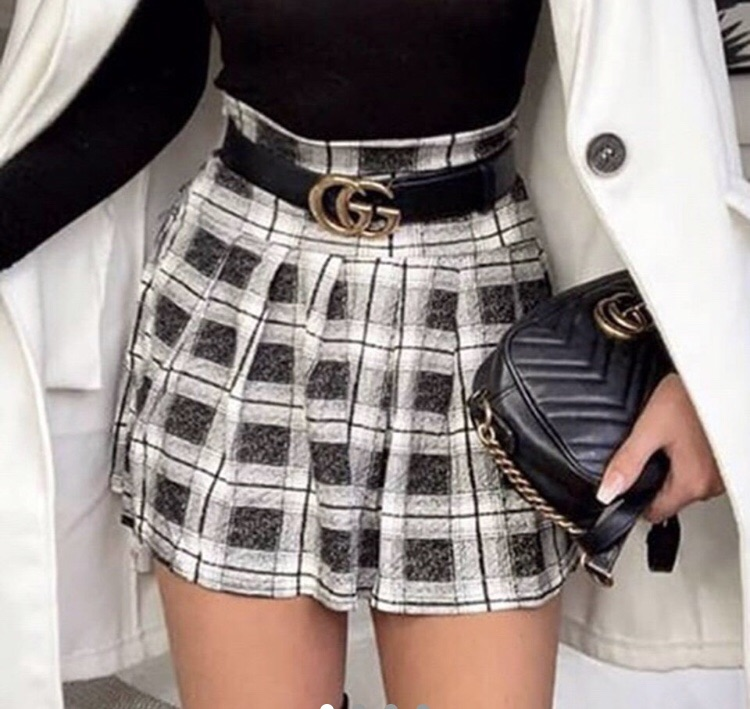 Black and white checkered skater skirt size 16