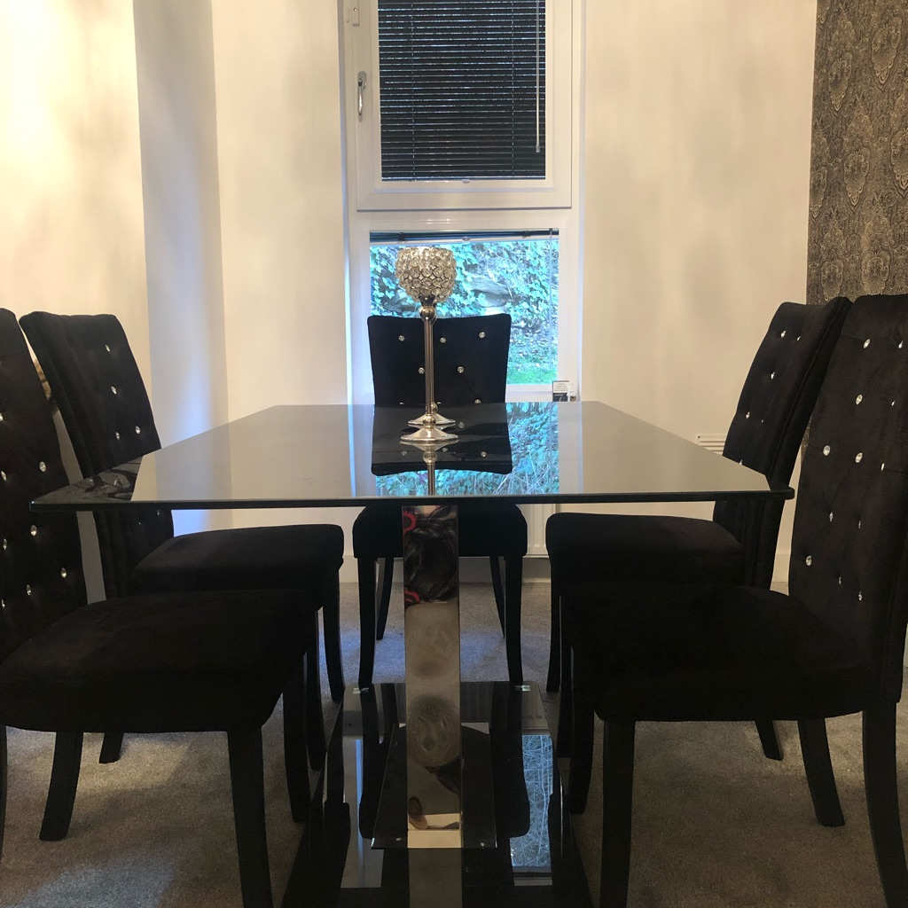 Glass table with 6 diamanté velvet chairs