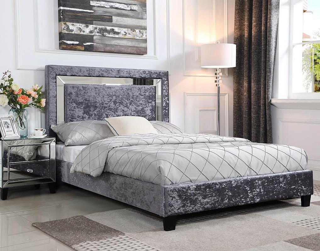 Soft crushed velvet mirrored upholstered bed double & kingsize
