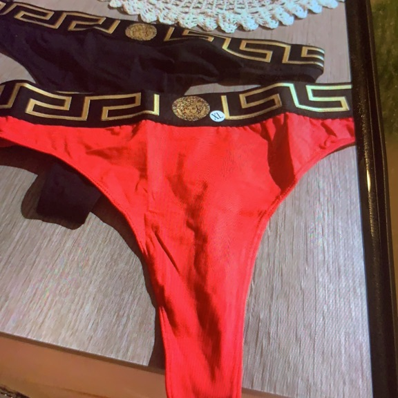 Versace black and red thongs XL