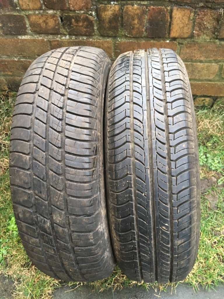 Two second hand tyres 165x70x14, still have plenty of tread around 7mm.
