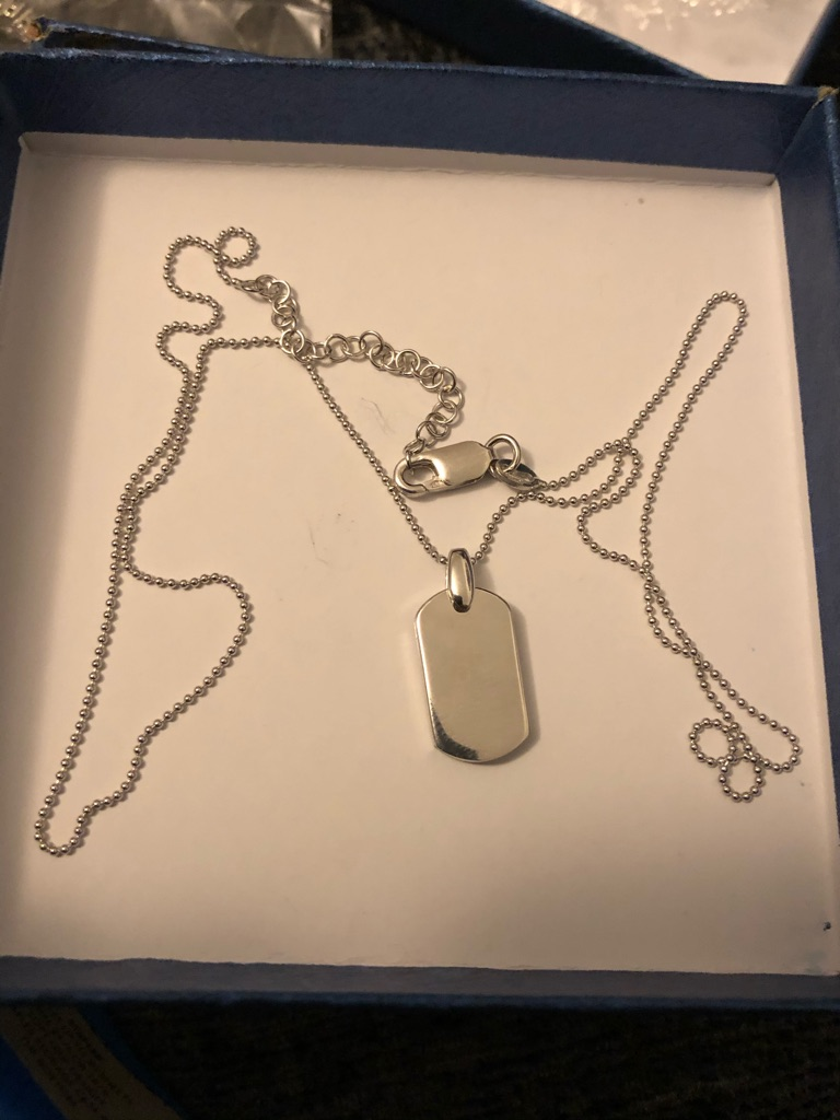 Dogtag pendant chain sterling silver 925 brand new 18 inch