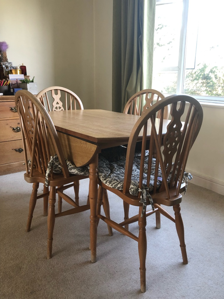 4seater wooden table and chairs