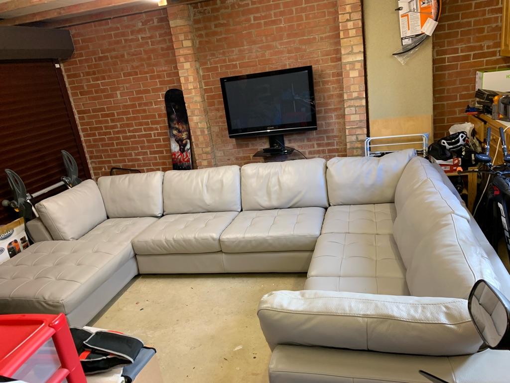 Italian soft leather U shaped sofa