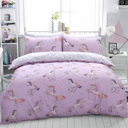 Paintly unicorn pink reversible duvet set