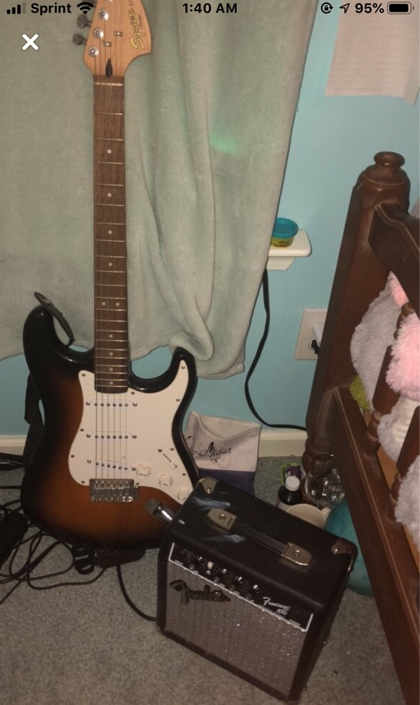 Electric fender guitar and amp