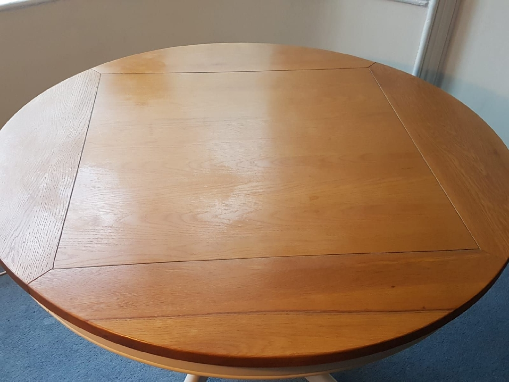 Painted oak round dining table