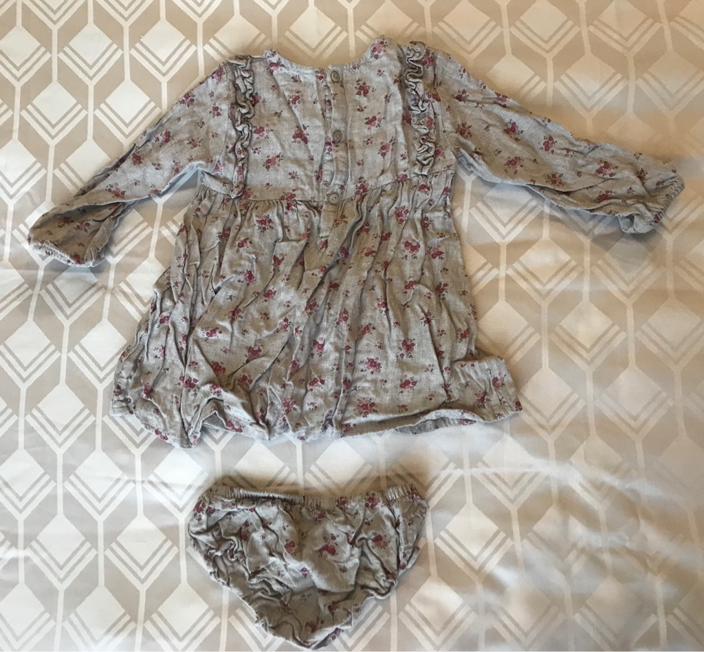Grey Floral Girls Dress & Knickers By Unit 12-18m