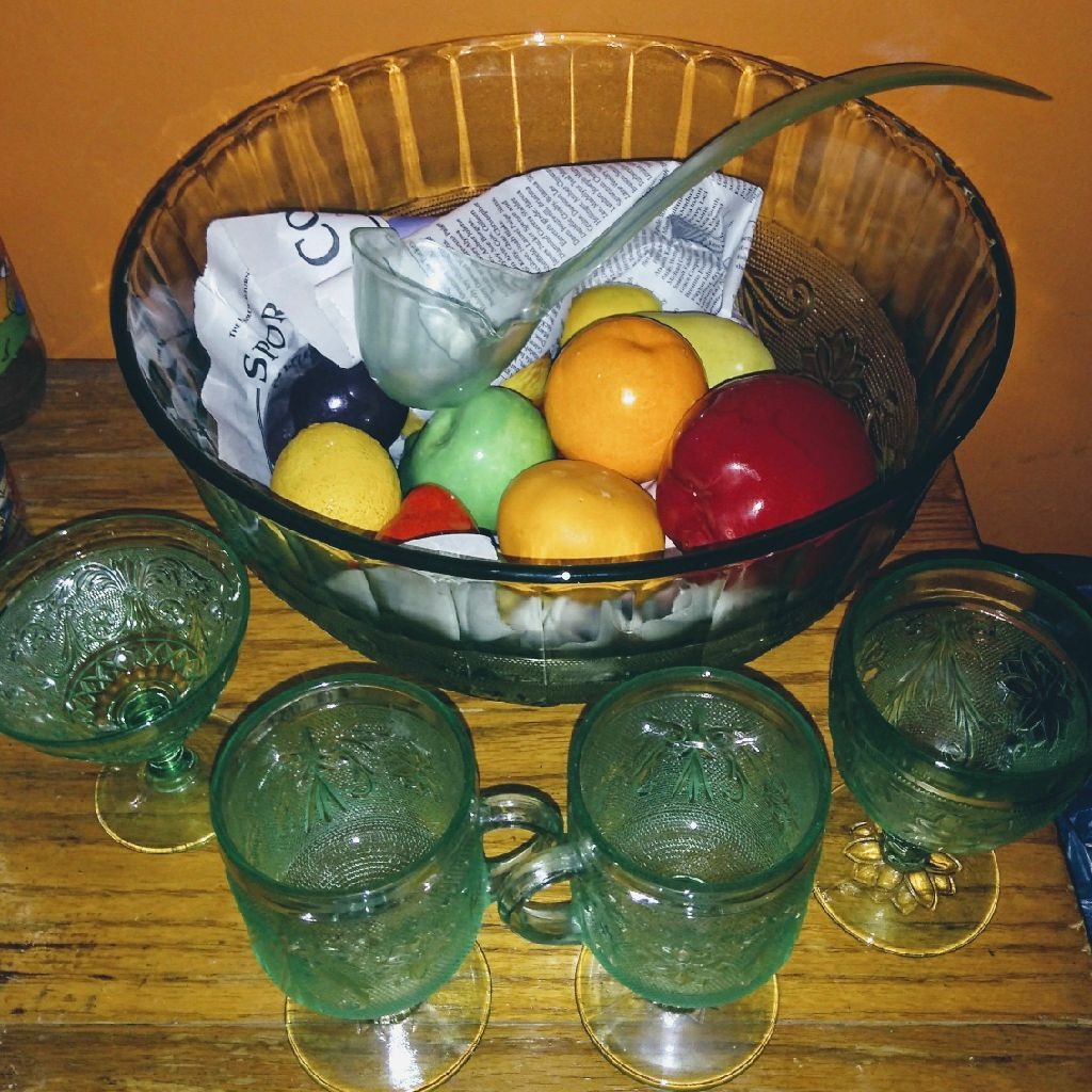 Vintage green glass punch bowl