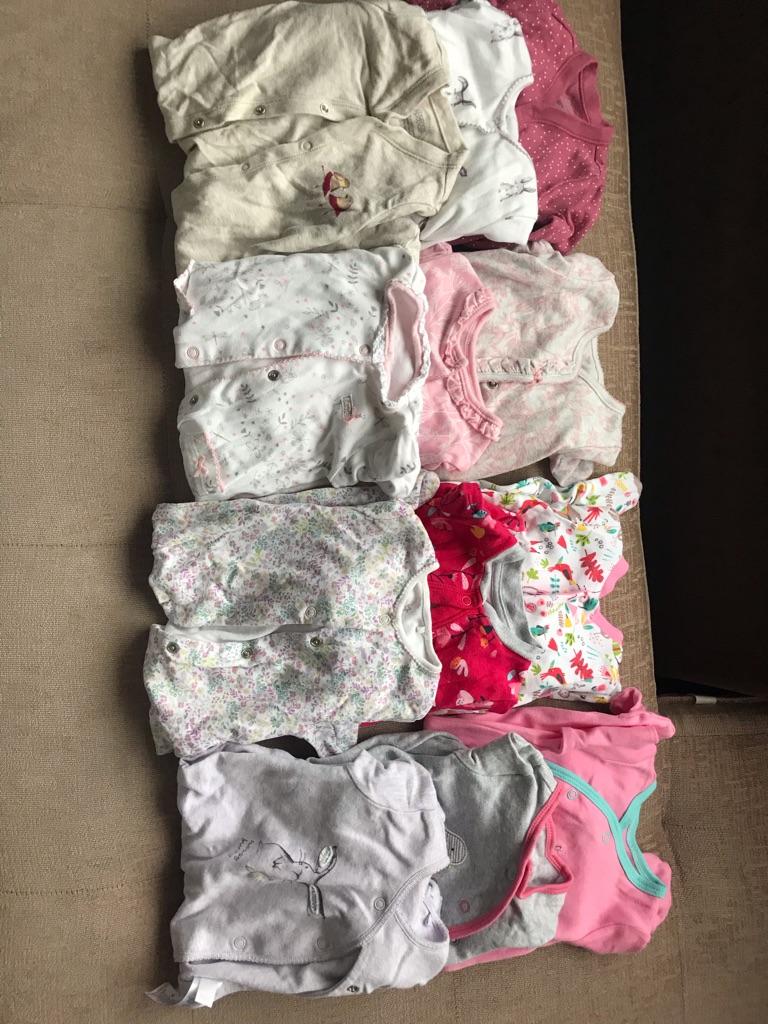 12 baby girl sleepsuits