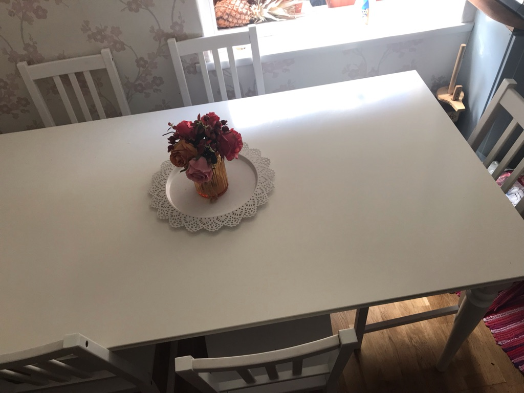 Family dining table with 6 chairs