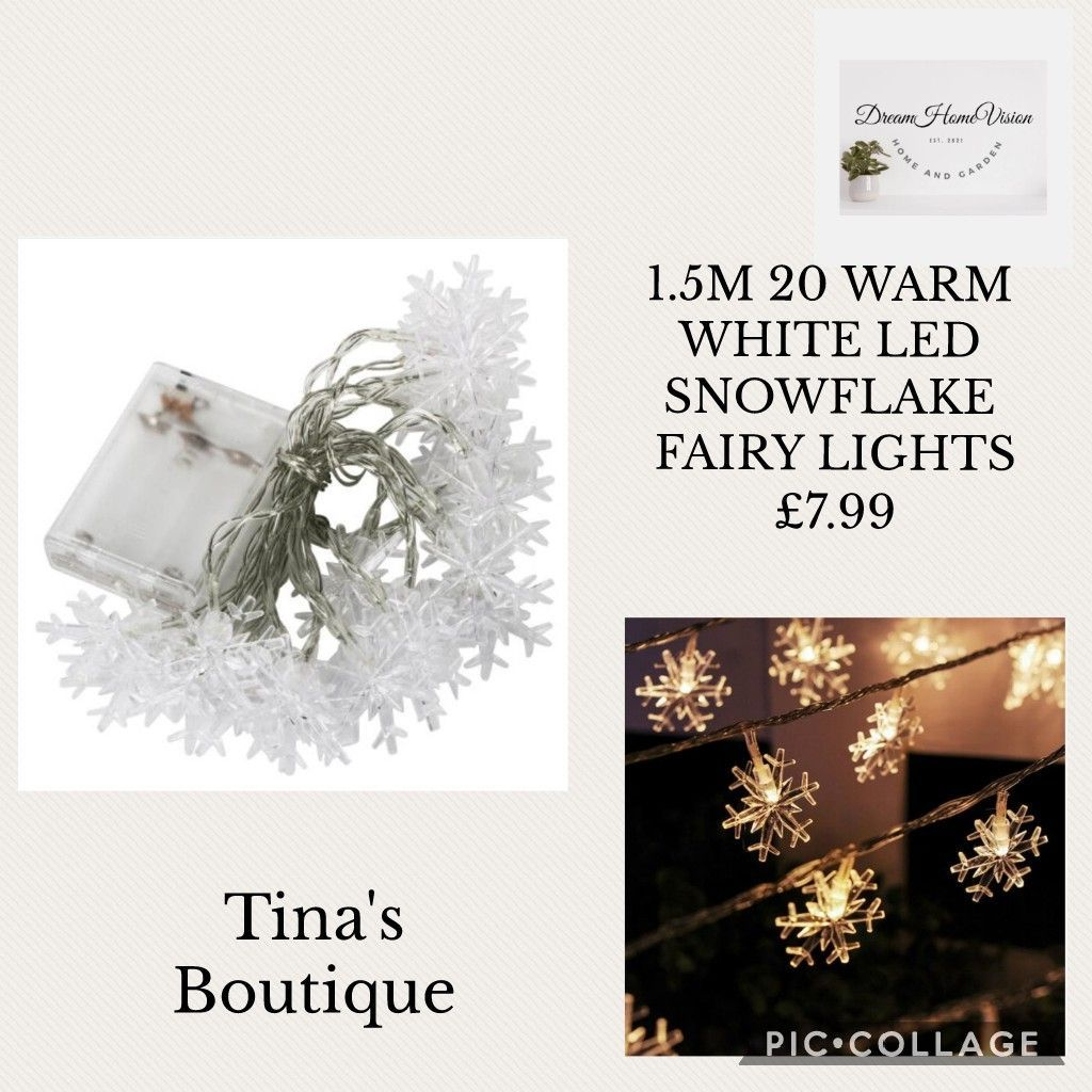 1.5M 20 WARM WHITE LED SNOWFLAKE FAIRY LIGHTS