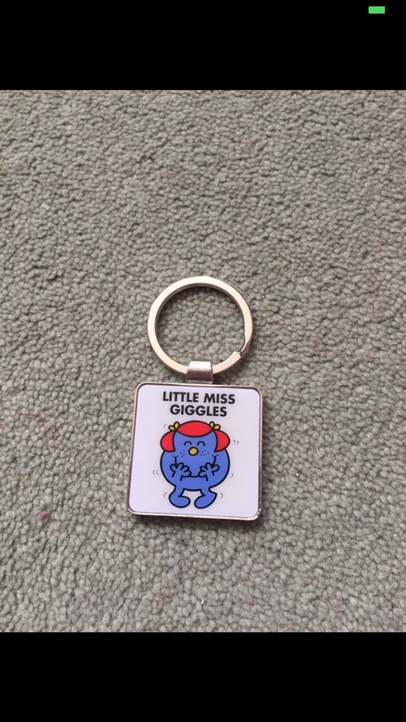 Silver & White Little Miss Giggles Keyring