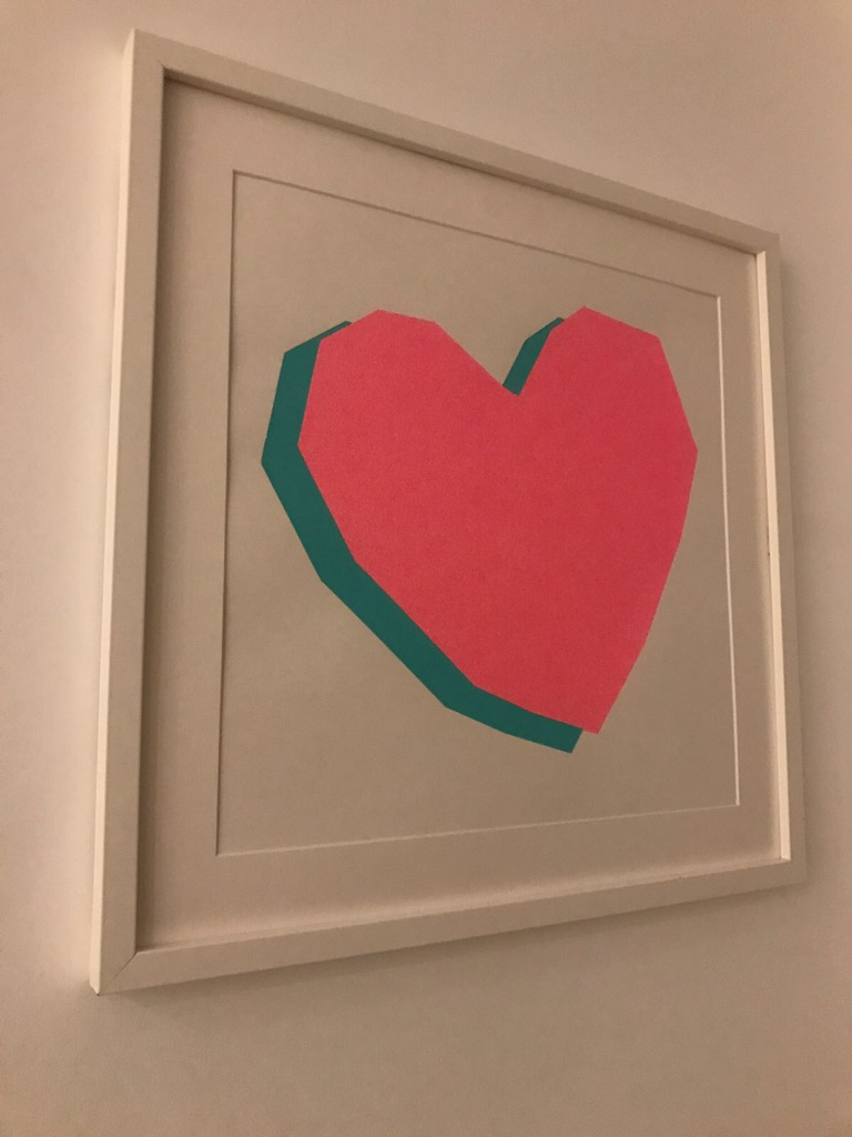 Cool heart wall print in frame