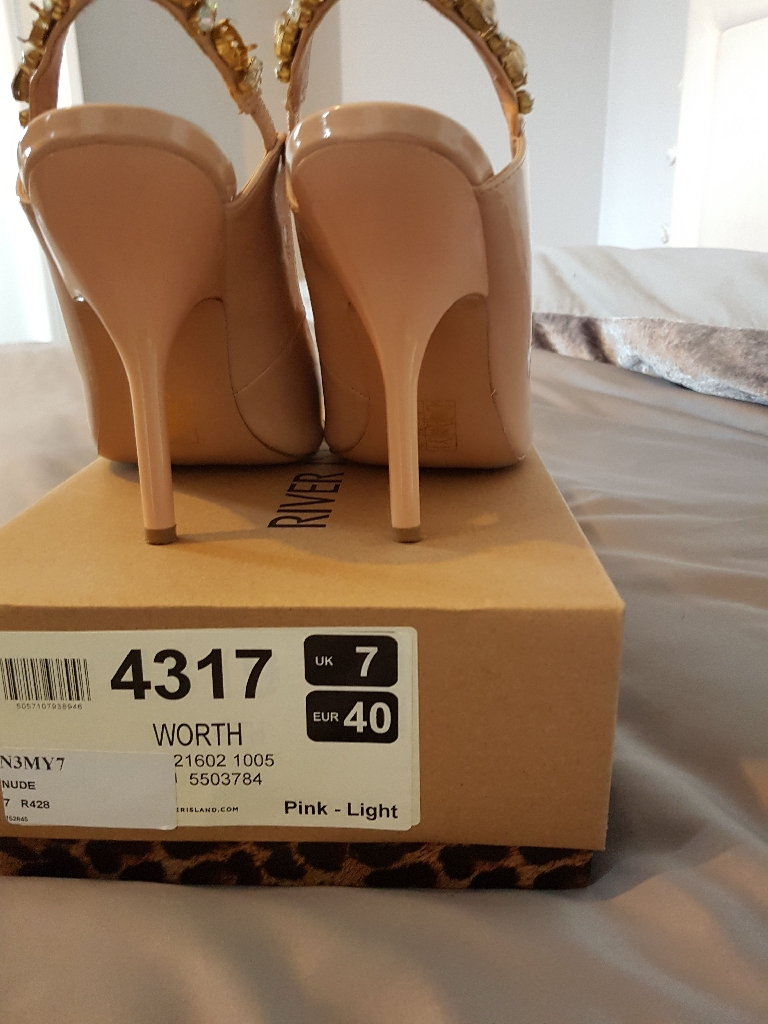 River Island nude shoes & handbag from very both used once perfect condition