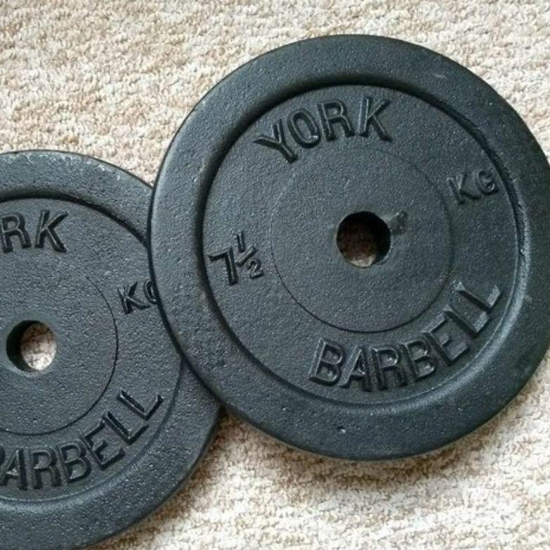 "Pair of 1"" Weight Discs ~ 7.5kg"