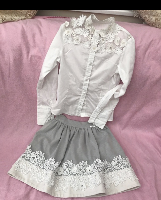 White and grey  laced top and skirt