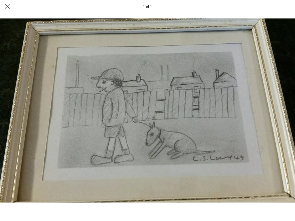 Original drawing Signed L S Lowry of a boy smoking walking his dog 21cm 17cm 1949