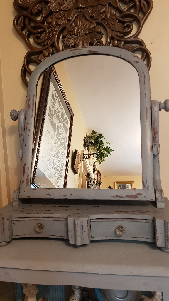 ORIGINAL VICTORIAN MIRROR ON STAND SHABBY CHIC STYLE