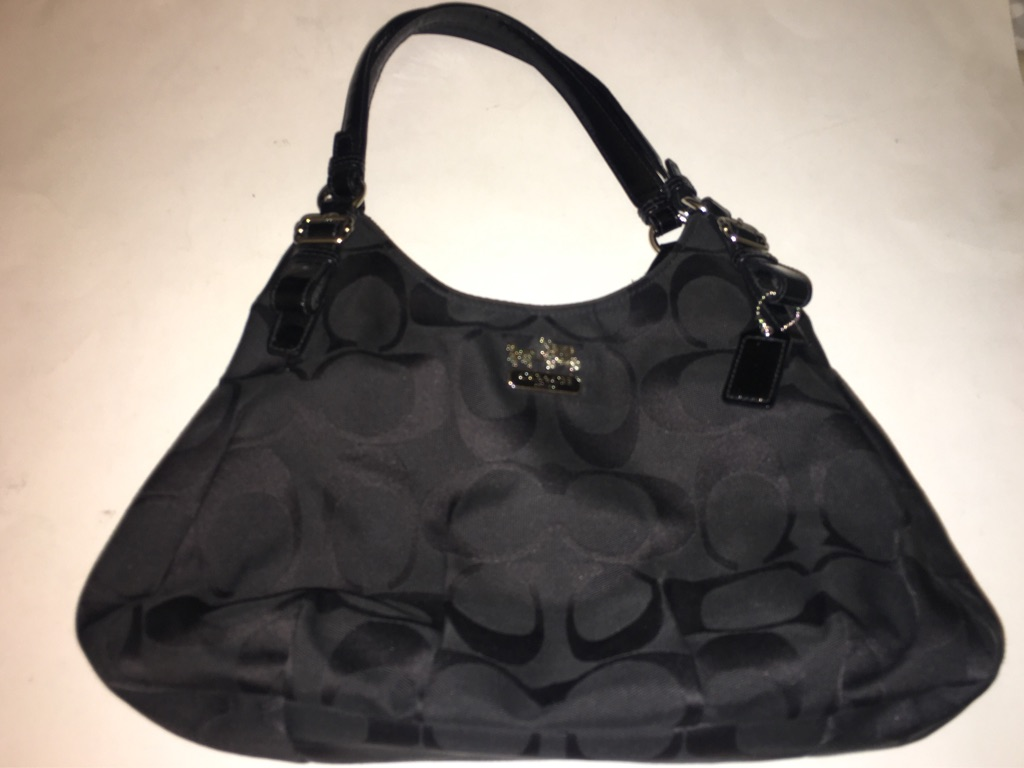 Coach Black Madison Signature Canvas Maggie Satchel Bag