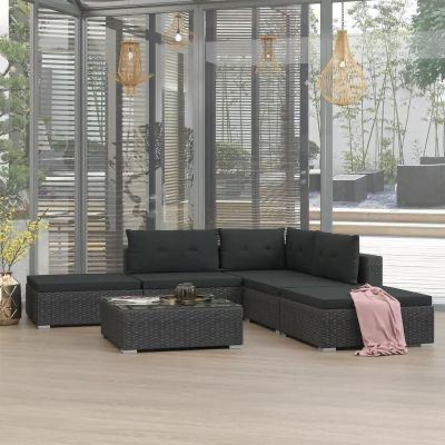 6 PIECE GARDEN LOUNGE SET WITH CUSHIONS POLY RATTAN BLACK - Free Delivery