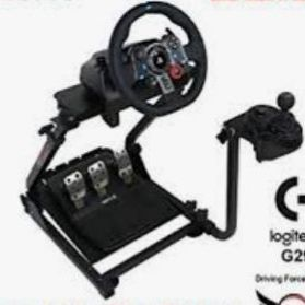 Logitech steering wheel gear shifter pedals stand, and black leather gaming chair what is not in the picture
