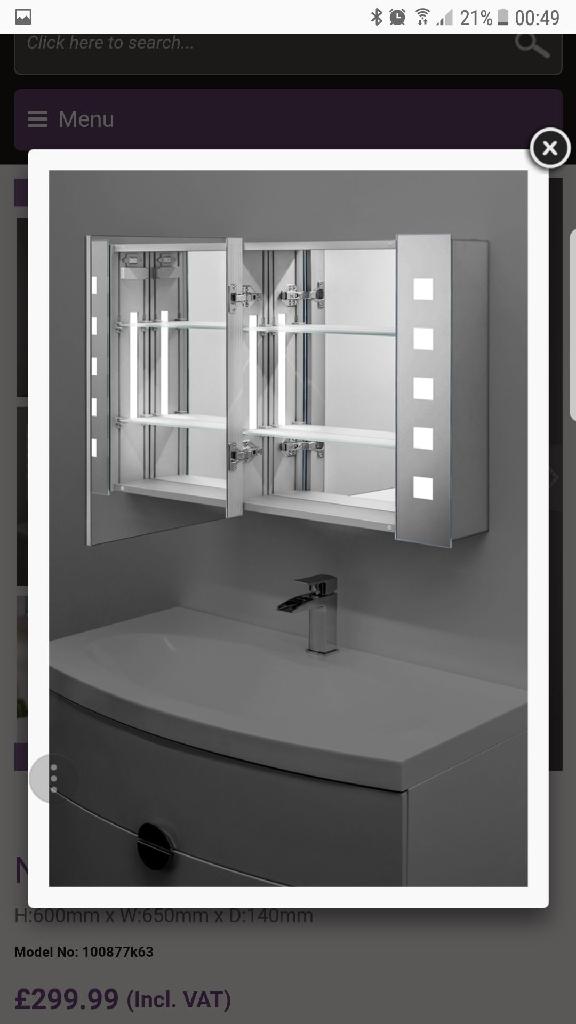 Bathroom Mirror Cabinet Eith Shaver Socket Demisting Mirror Village