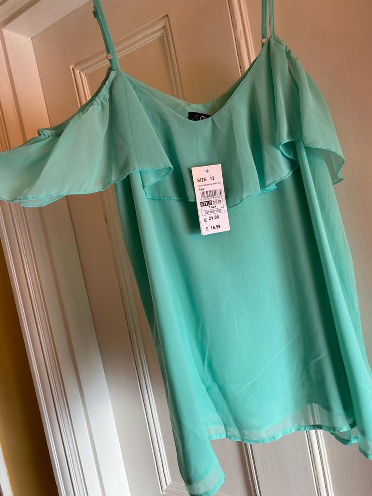 Quiz turquoise open shoulder top
