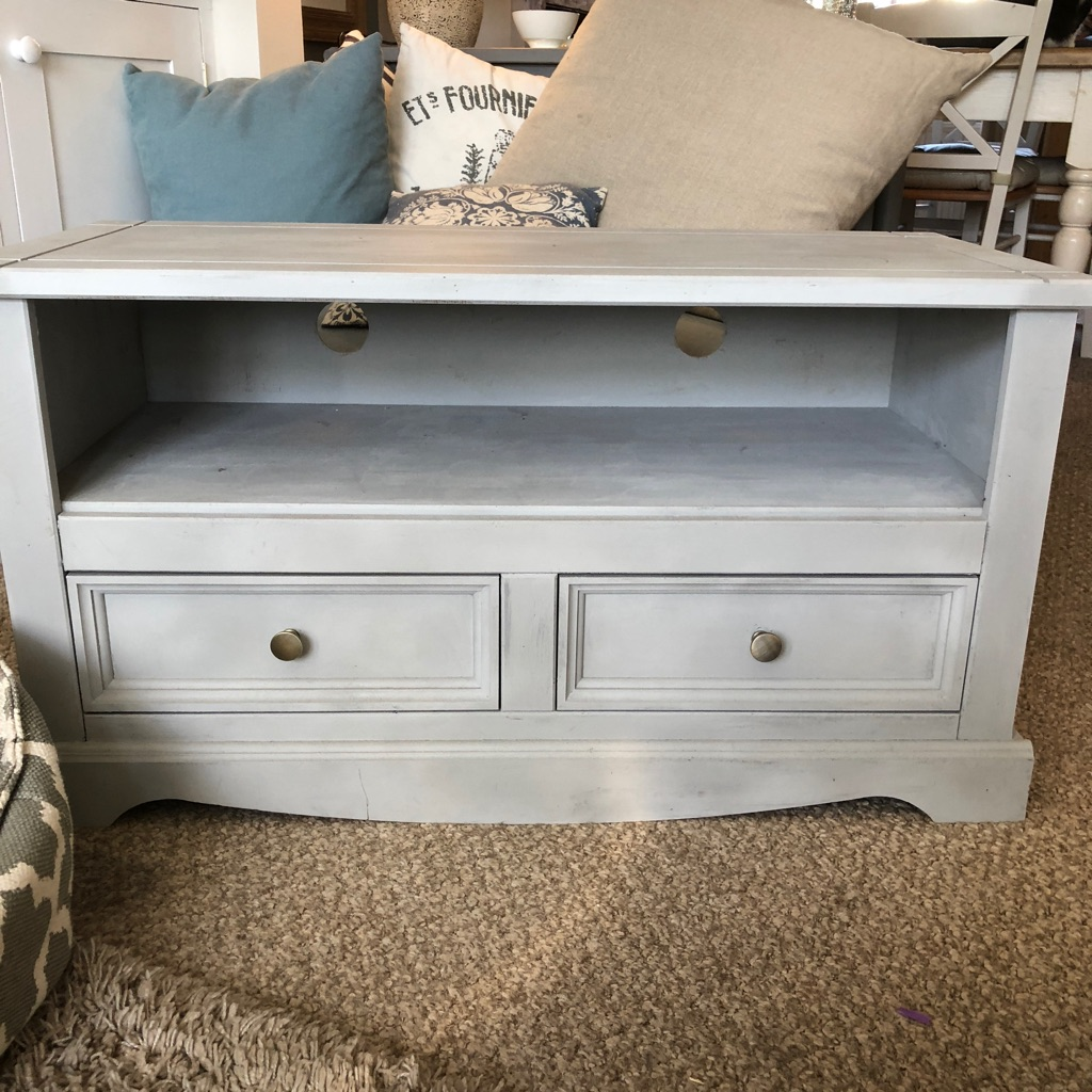 Grey chalk painted wooden TV unit