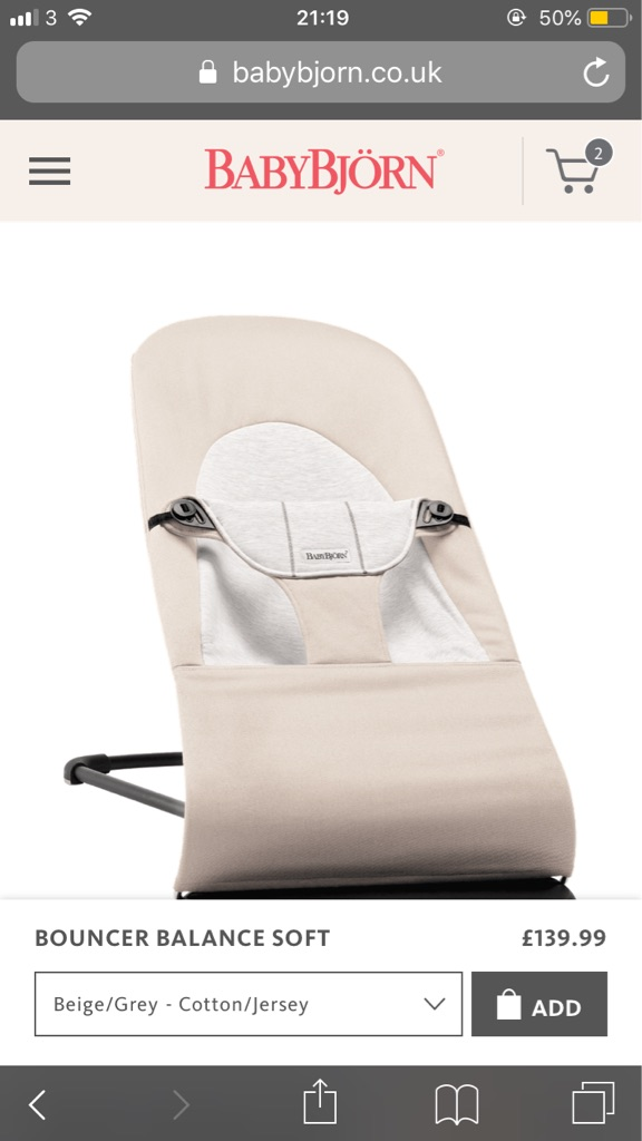 New BabyBjorn Balance Soft Bouncer - Beige/Grey