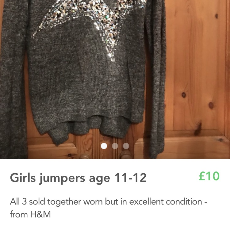 3 girls jumpers age 11-12