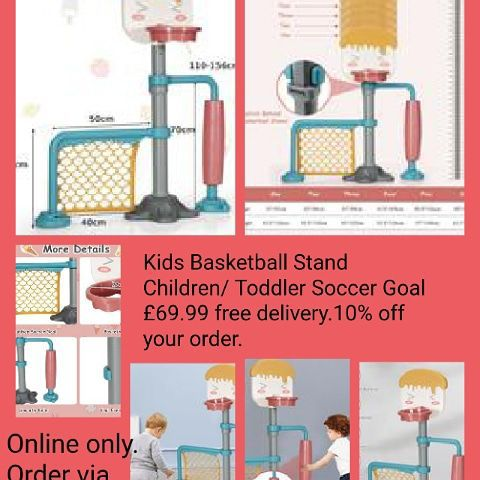 🏀⚽Kids Basketball Stand Children/ Toddler Soccer Goal 💥£69.99 🚚Free delivery.