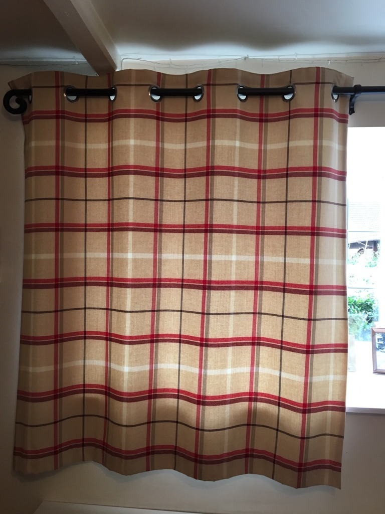 NEXT Cream & Red Check Curtains