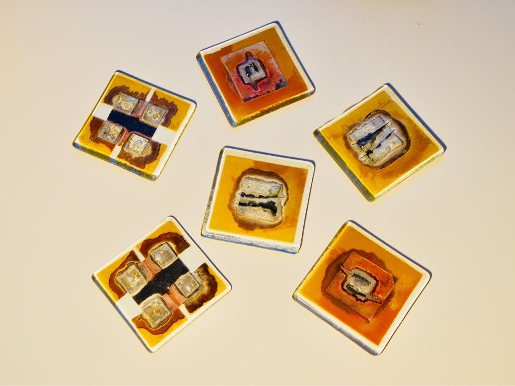 Handmade Glass Drinks Coasters (set of 6)