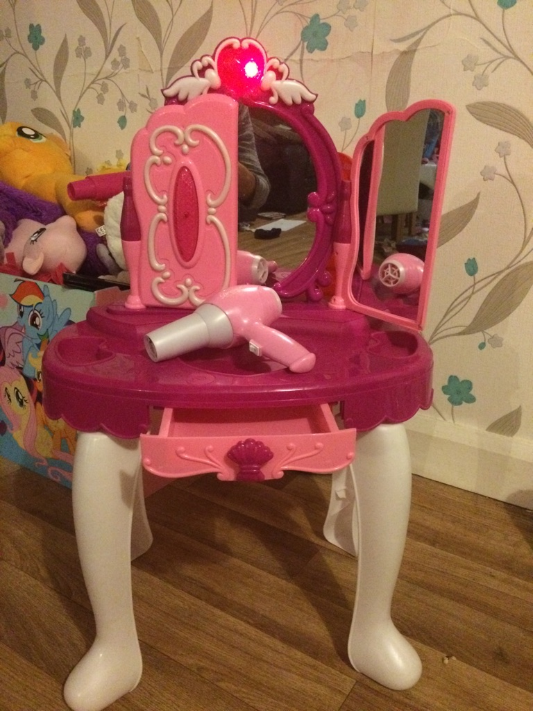 Girls dressing table with hairdryer