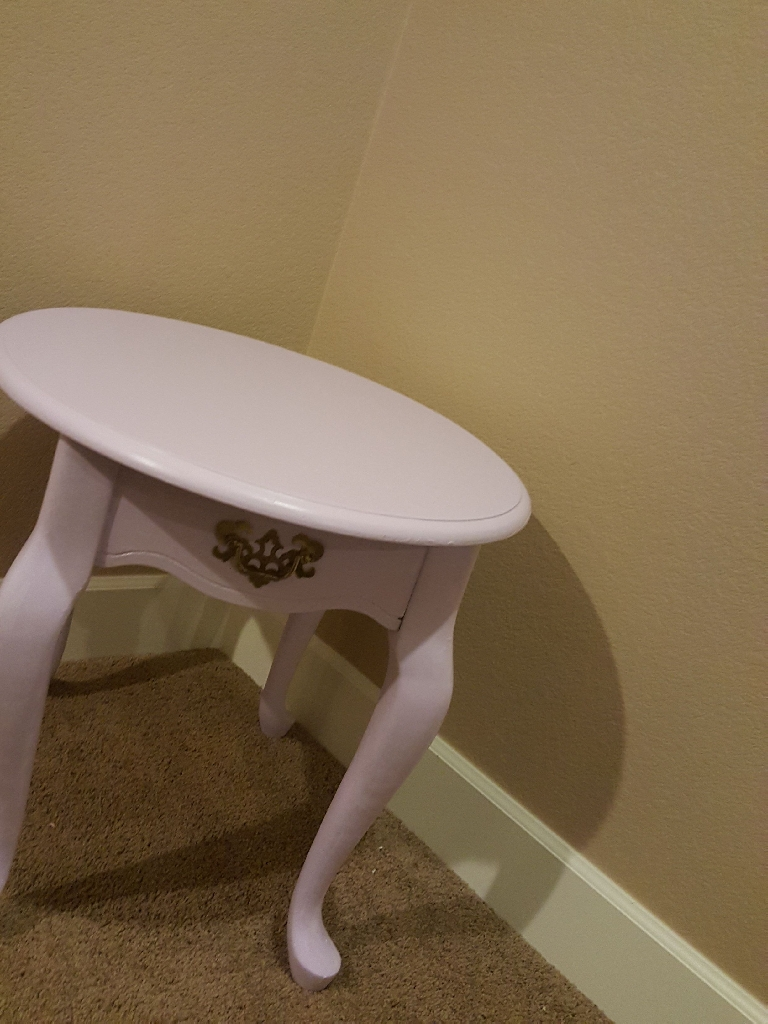 Mid Century Modern Lilac Oval Side Table