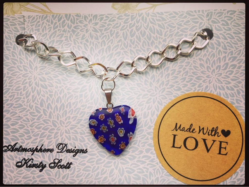 Lovely little glass heart bracelets