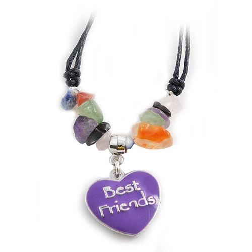 Best friends heart and gemstone necklace