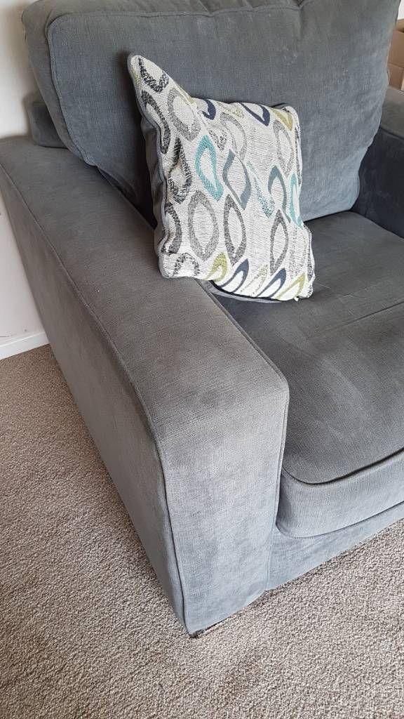 3 piece suite slate grey fabric