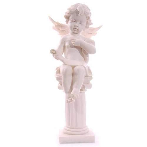 Seated cherub figurine on pillar reading