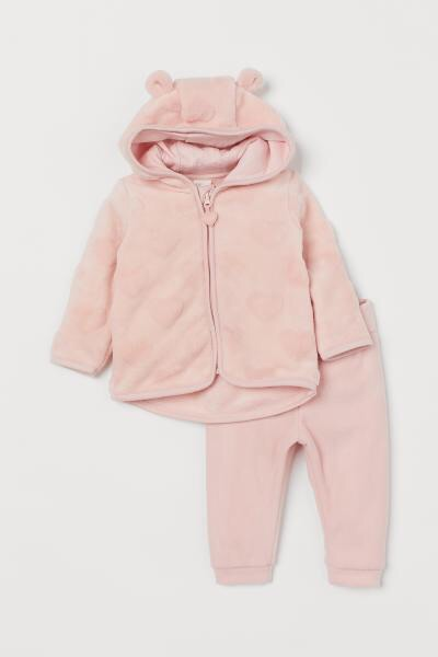 H&M light pink baby girl jacket & trousers 1-2m