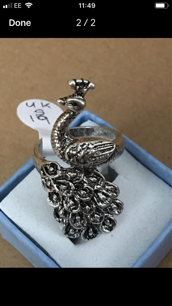 Silver plated peacocks ring