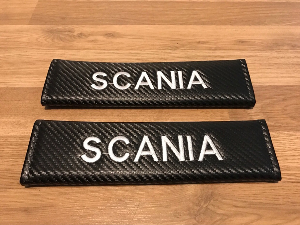 2X Seat Belt Pads Carbon Gift Truck Lorry Scania G P R Series 124 114 Camion HGV LGV