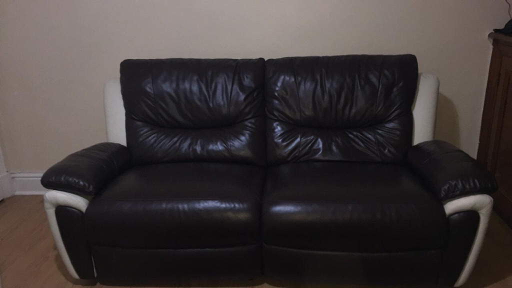 2x leather recliner sofa