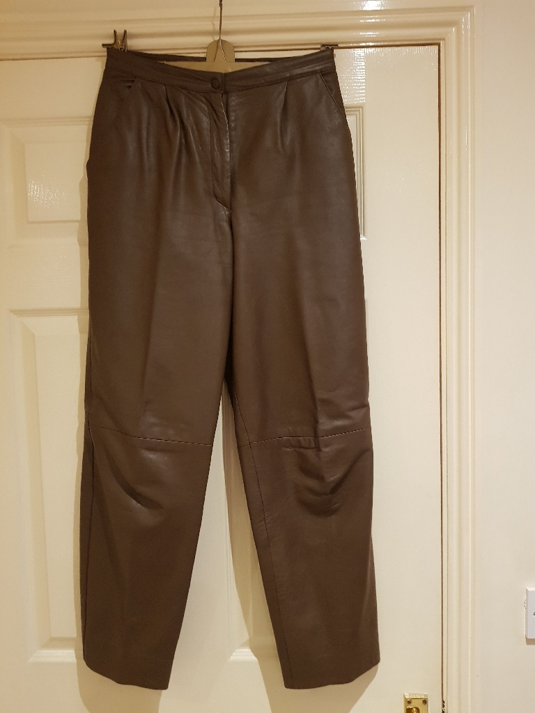 Brown leather trousers