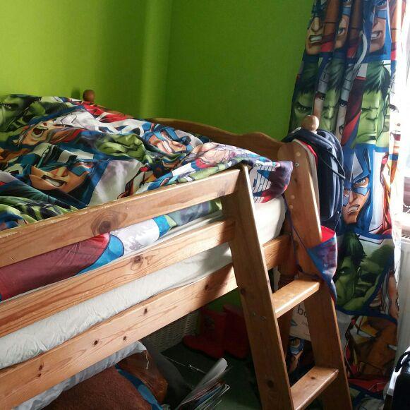 Wooden single mid sleeper bed no mattress