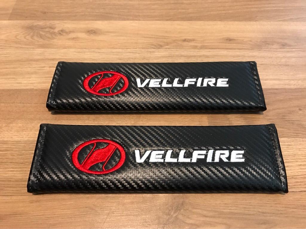 2X Seat Belt Pads Carbon Gifts Toyota Vellfire Alphard Sport Tuning Racing BHP Minivan Japan ah 10 20 30