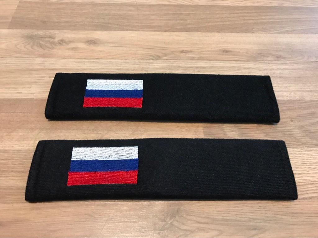 2X Seat Belt Pads Logo Gift Flag Russia Lada Granta Volga Gaz Moskvici Niva 1500