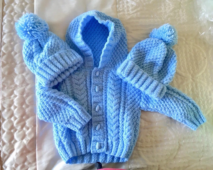 Hand Knitted Aran Baby Boy's Hooded Jacket/Cardigan & Hat Set Baby Blue Age-1-2 Years